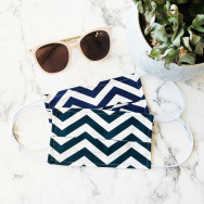 Personalised Pack Of Two Chevron Striped Face Masks