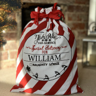 Personalised Personalised Red And White Vintage Style Santa Sack