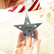 Personalised Personalised Silver Duo Star Bauble