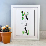 Personalised Personalised Couples Water Colour Cactus Print