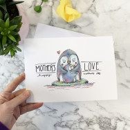Personalised Penguin Hug Mother's Day Card