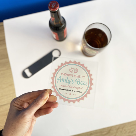 Personalised Personalised Clear Acrylic Printed Beer Mat Coaster