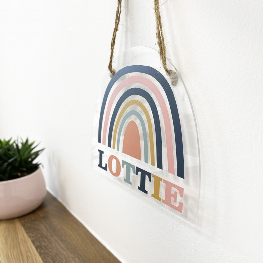 Personalised Muted Rainbow Hanging Room Sign