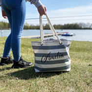 Personalised Personalised Large Stripe Beach Bag