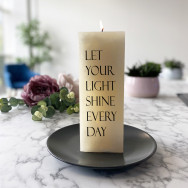 Personalised Let Your Light Shine Every Day Pillar Candle