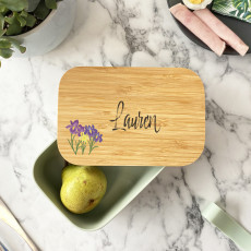Personalised Personalised Bamboo Birth Flower Lunch Box