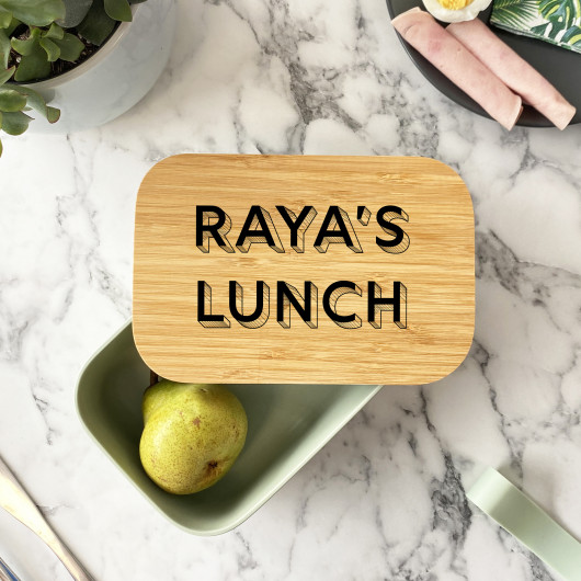 Personalised Personalised Bamboo Shadow Font Lunch Box