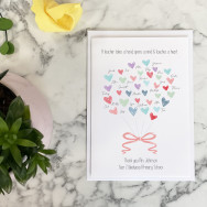 Personalised Thank You Teacher Class Hearts Card