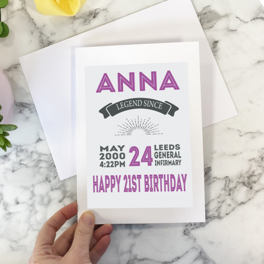 Personalised Personalised Special Date 21st Birthday Card