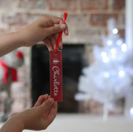 Personalised Personalised Straight Bauble With Red Glitter Backing
