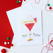 Personalised Merry Christmas Cocktail Card