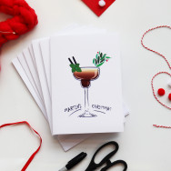 Personalised Pack Of 10 Cocktail Christmas Cards