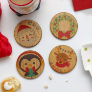 Personalised Set Of Four Christmas Character Wooden Coasters